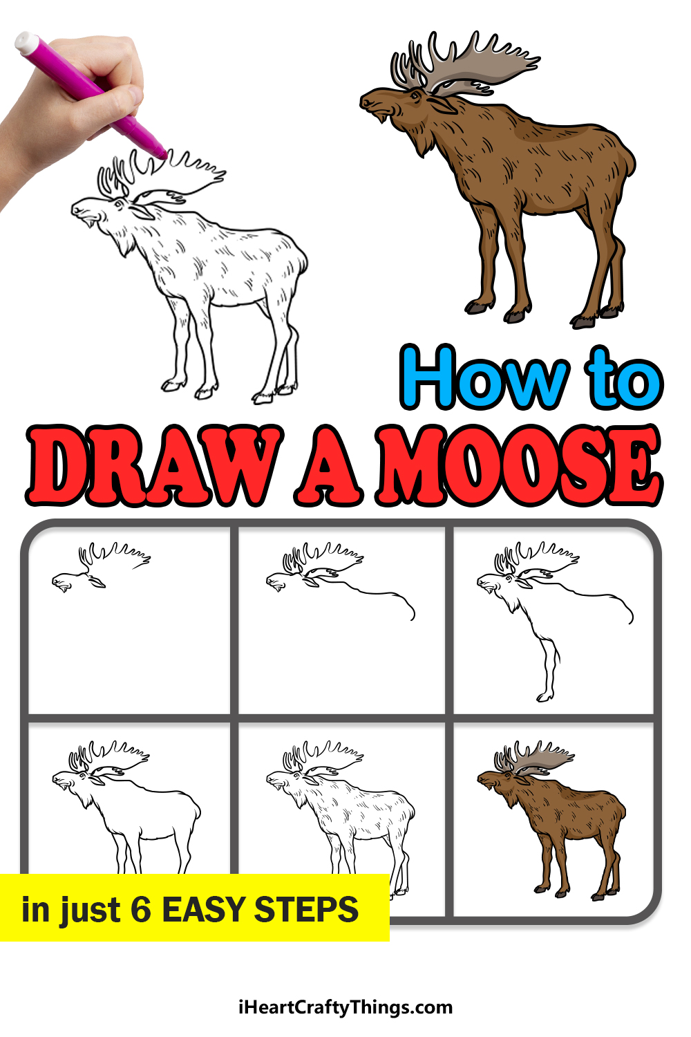 how to draw a moose in 6 easy steps