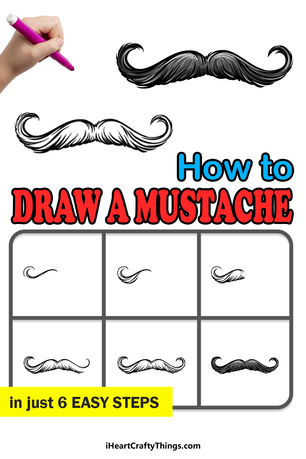 how to draw a mustache in 6 easy steps