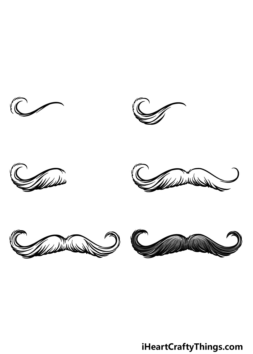 how to draw a mustache in 6 steps