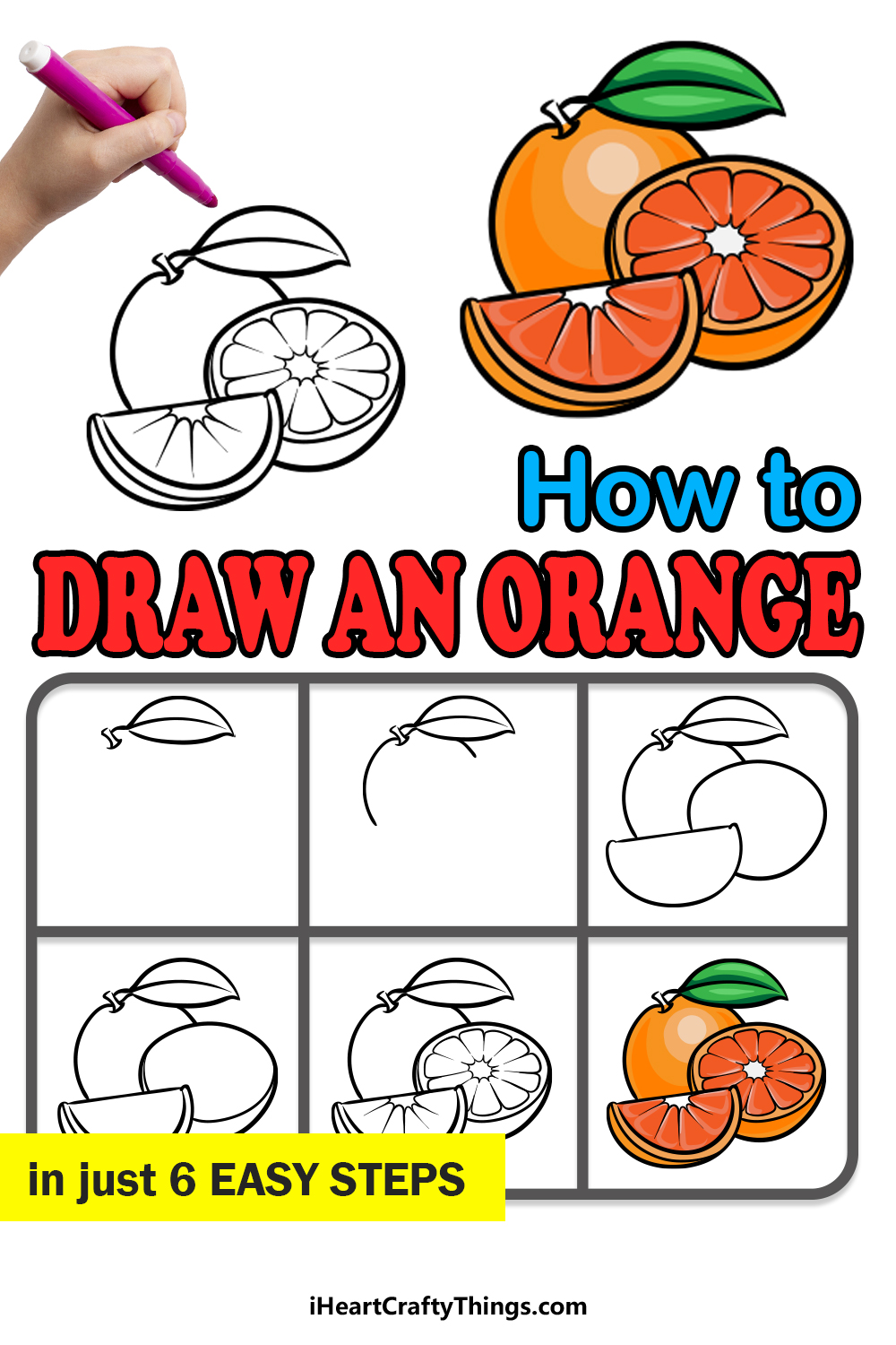 how to draw an orange in 6 easy steps