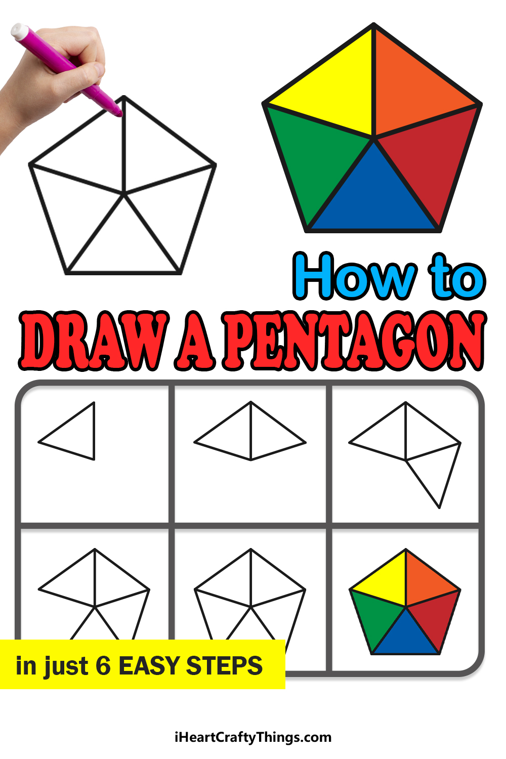 how to draw a pentagon in 6 easy steps