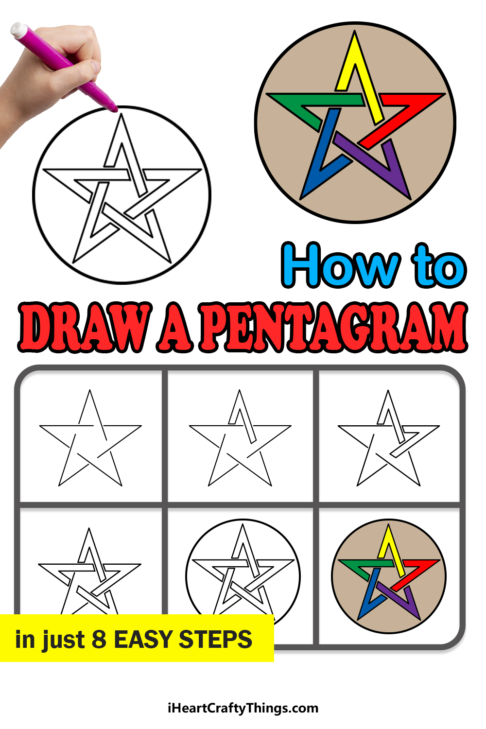 how to draw a pentagram in 8 easy steps