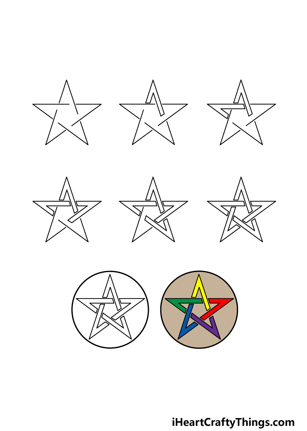 how to draw a pentagram in 8 steps