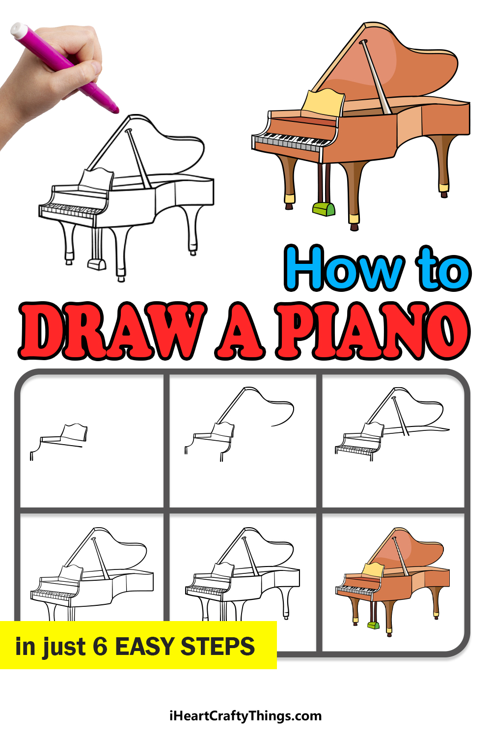 how to draw a piano in 6 easy steps