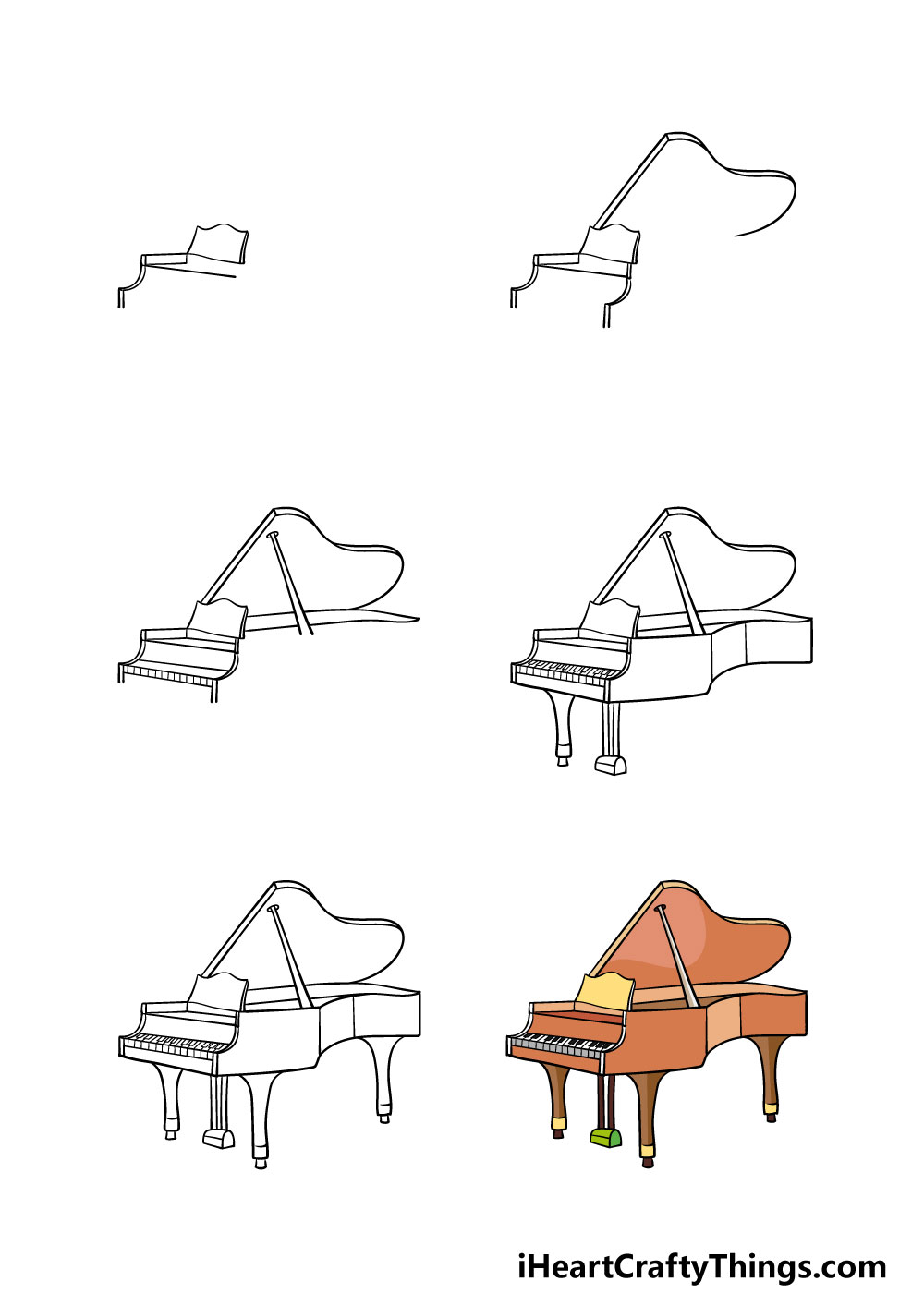 how to draw a piano in 6 steps