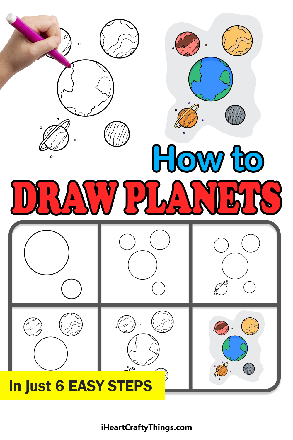 how to draw planets in 6 easy steps