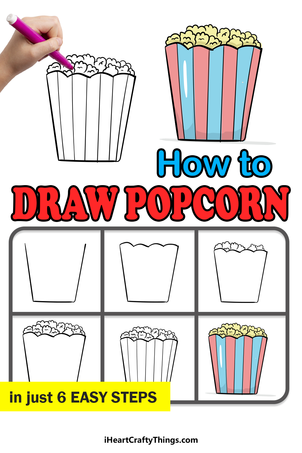 how to draw popcorn in 6 easy steps