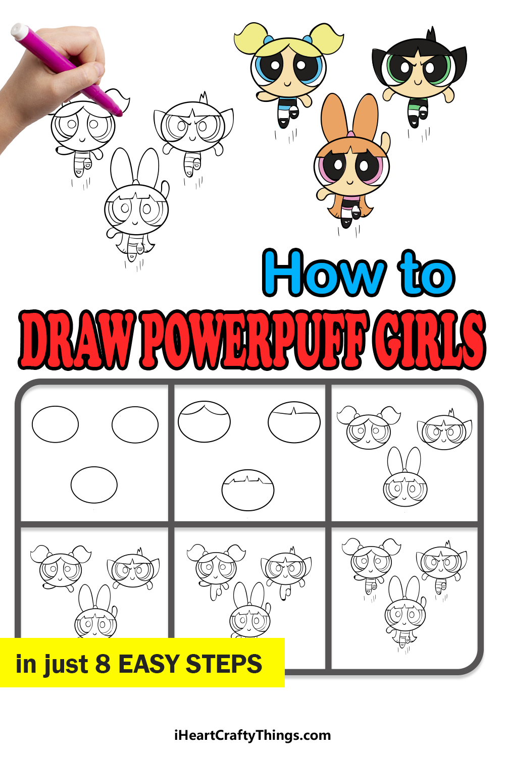 how to draw powerpuff girls in 8 easy steps