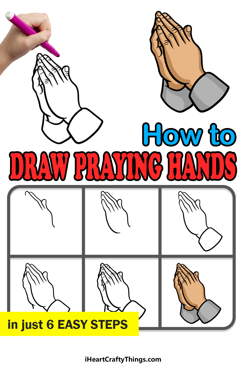 how to draw praying hands in 6 easy steps
