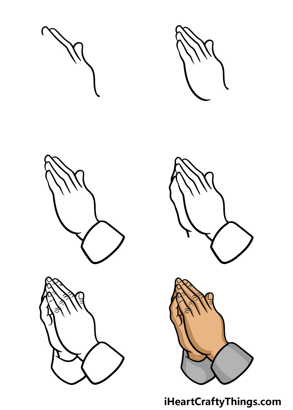 how to draw praying hands in 6 steps