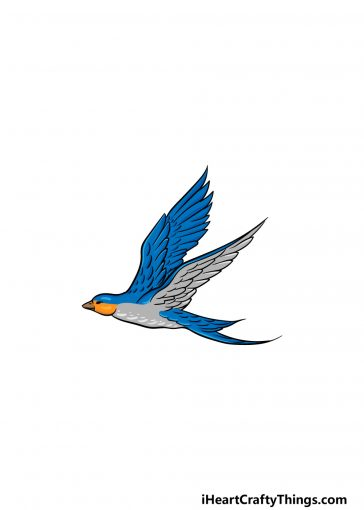 how to draw a flying bird image