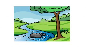 how to draw a river image