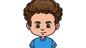 how to draw curly male hair image