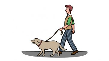 how to draw a man with a dog image