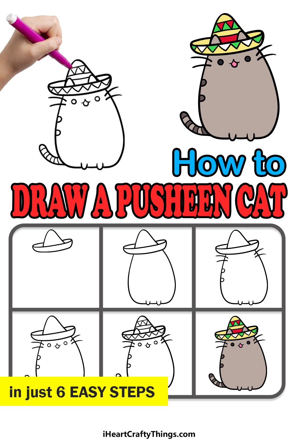 how to draw pusheen cat in 6 easy steps