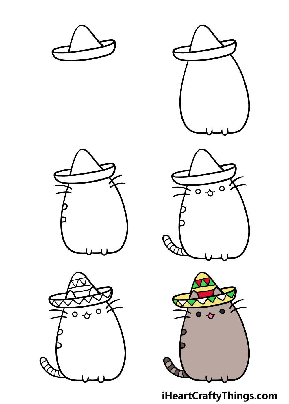 how to draw pusheen cat in 6 steps