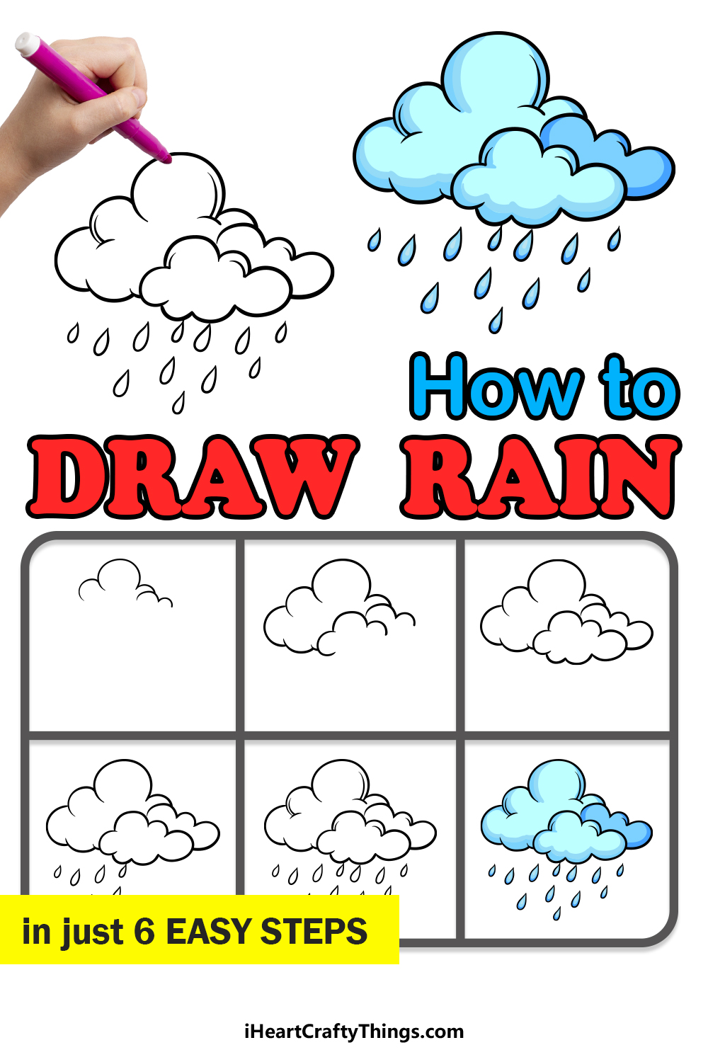 how to draw rain in 6 easy steps