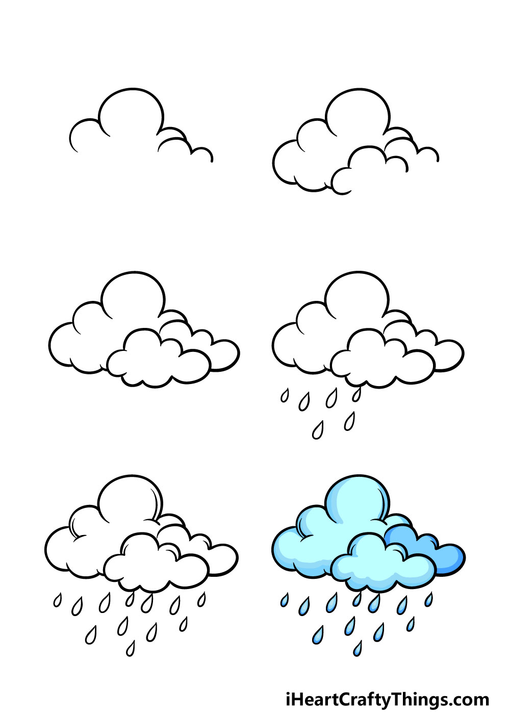how to draw rain in 6 steps