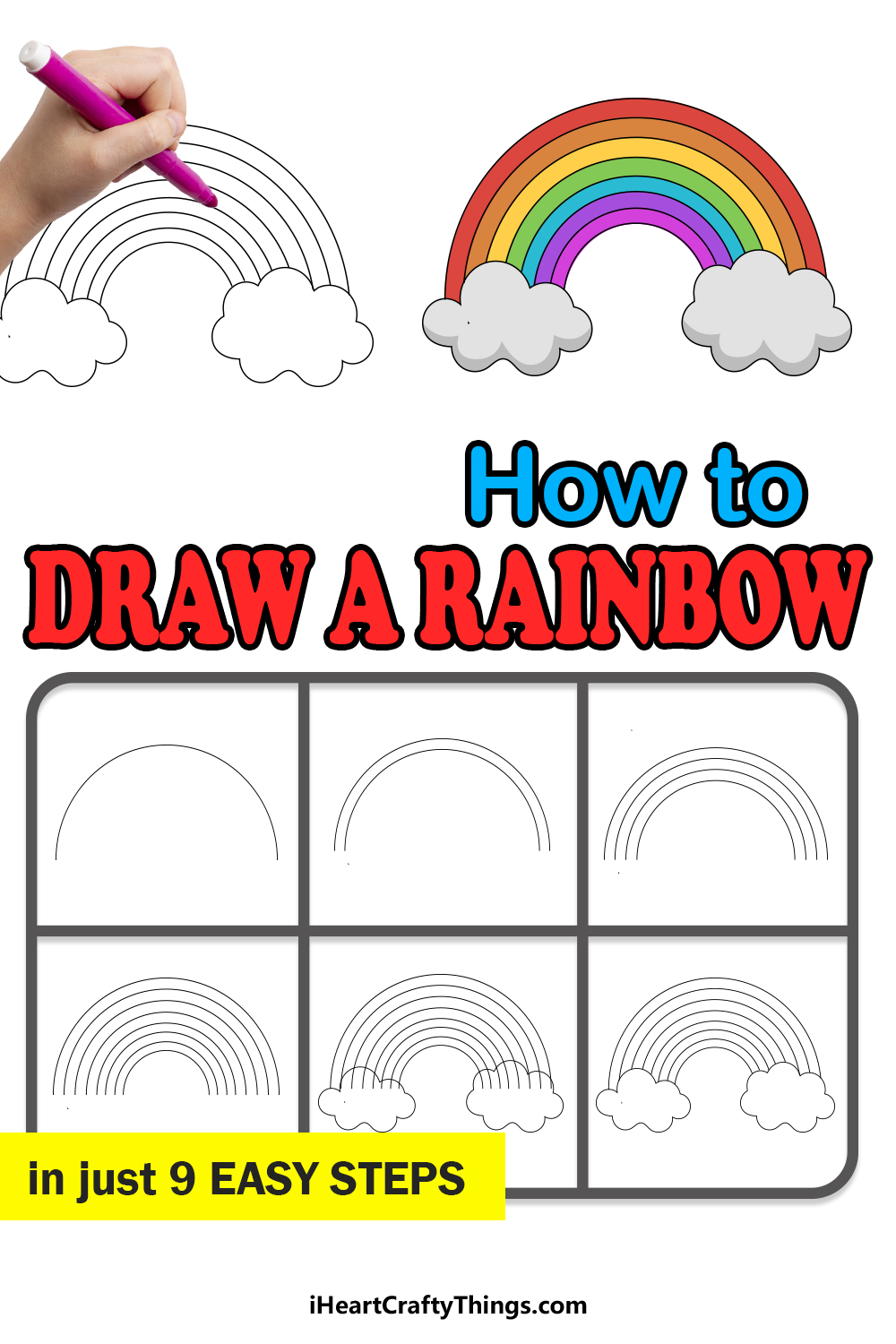 how to draw a rainbow in 9 steps
