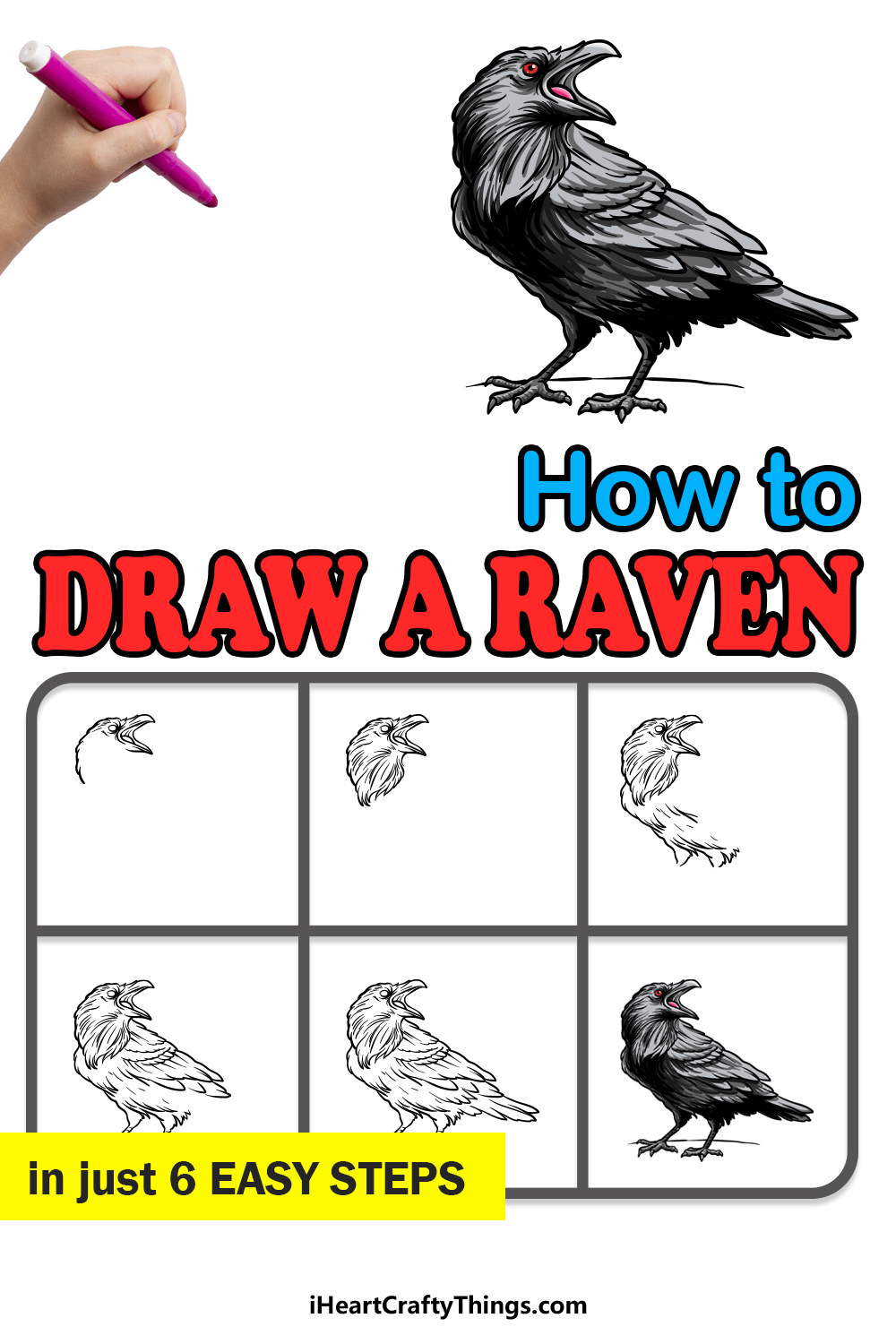 how to draw a raven in 6 easy steps