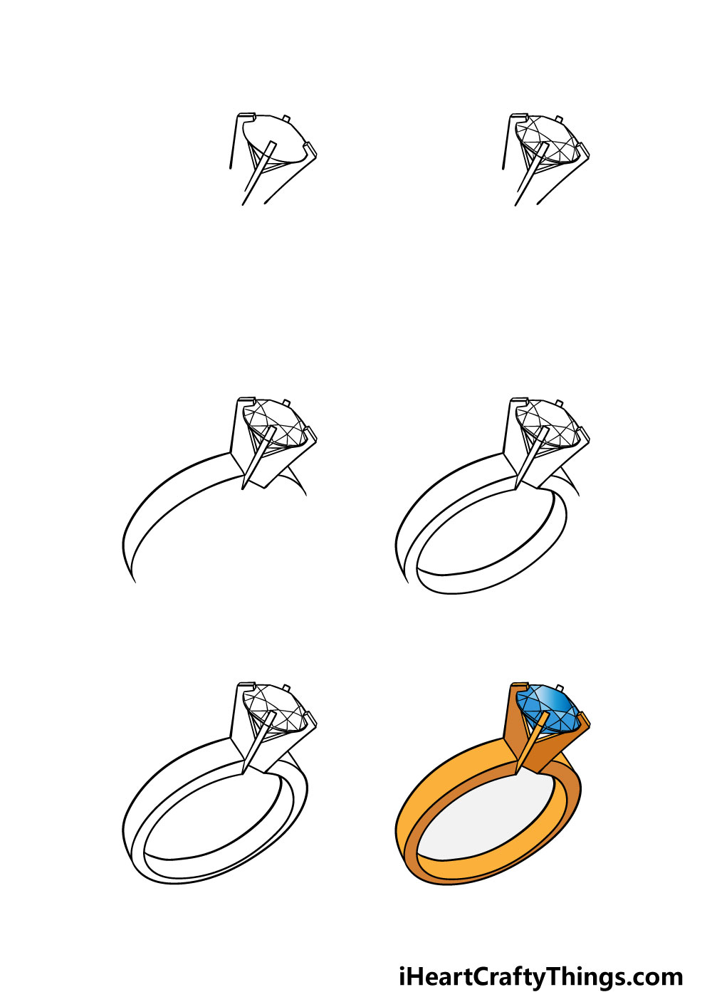 how to draw a ring in 6 steps