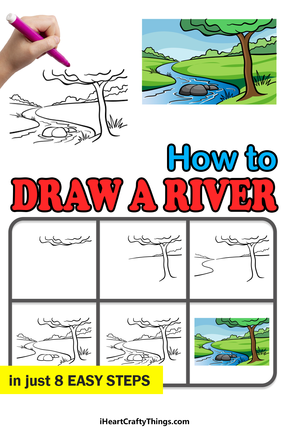 how to draw a river in 8 easy steps