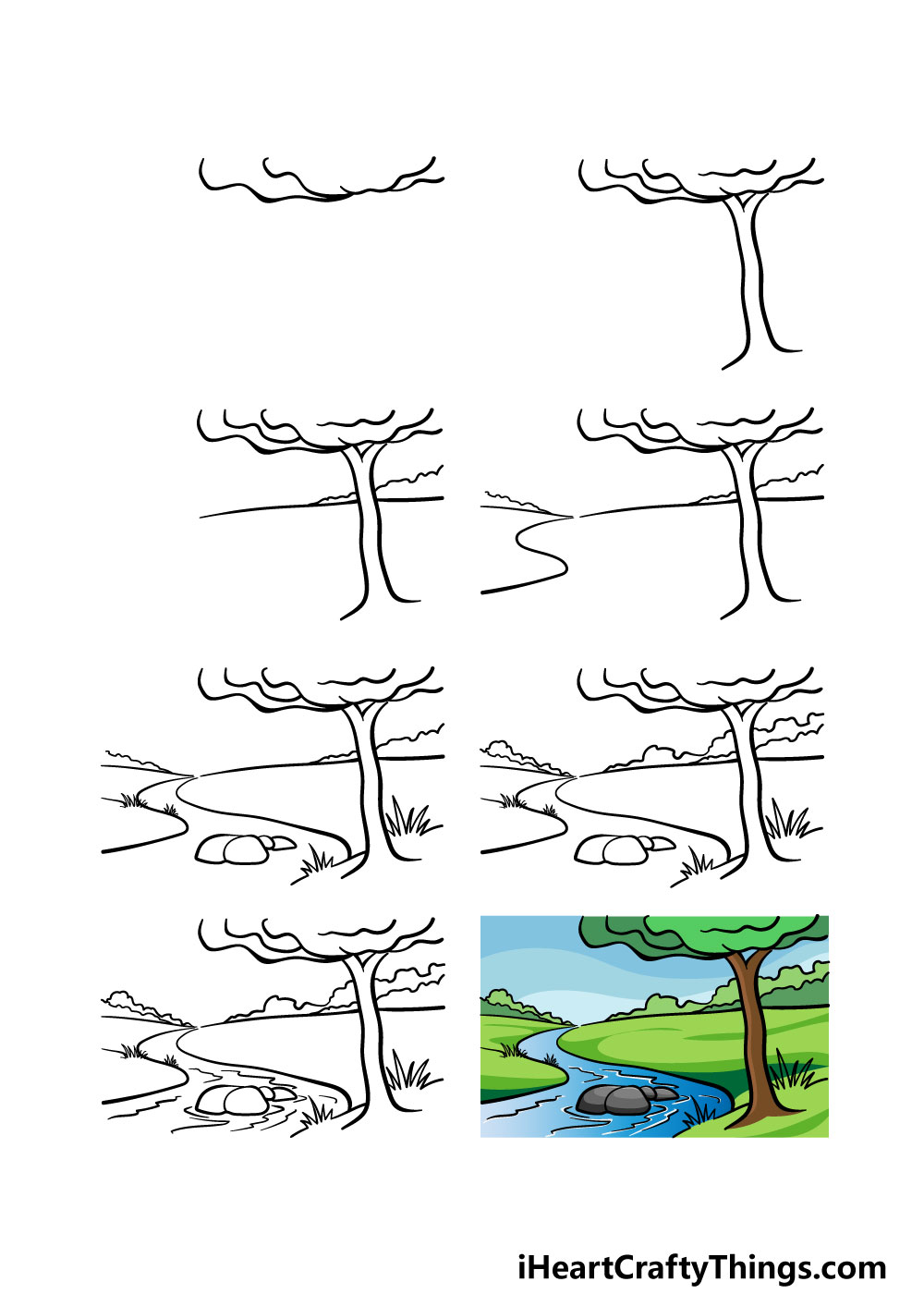 how to draw a river in 8 steps