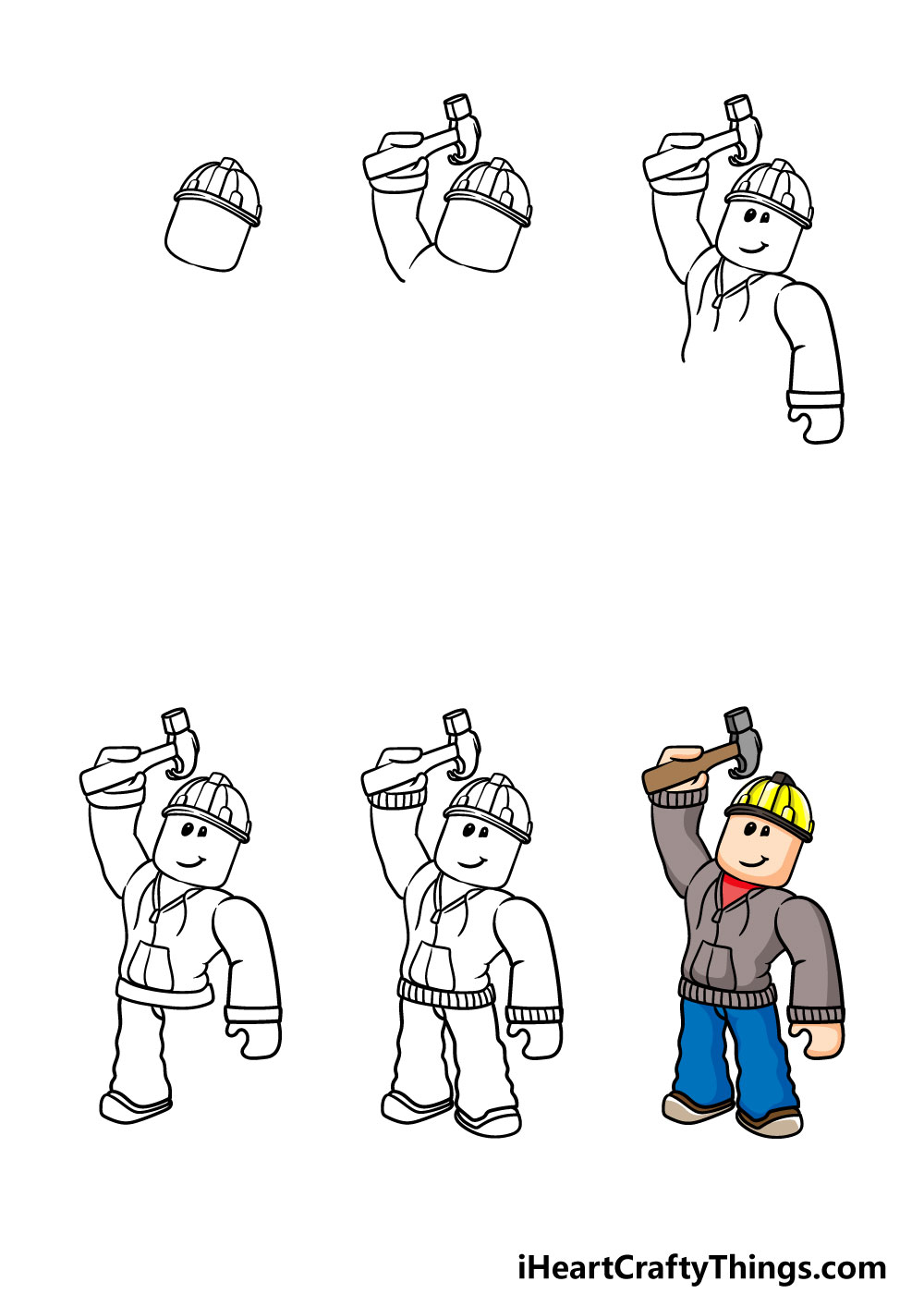 how to draw roblox in 6 steps