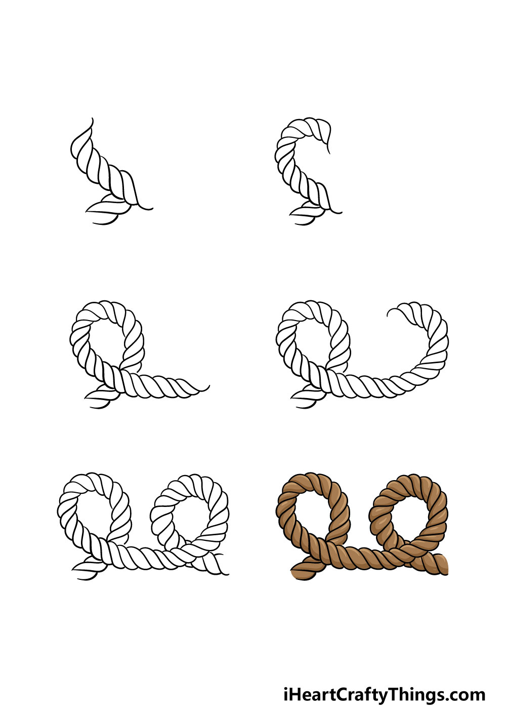 how to draw a rope in 6 steps