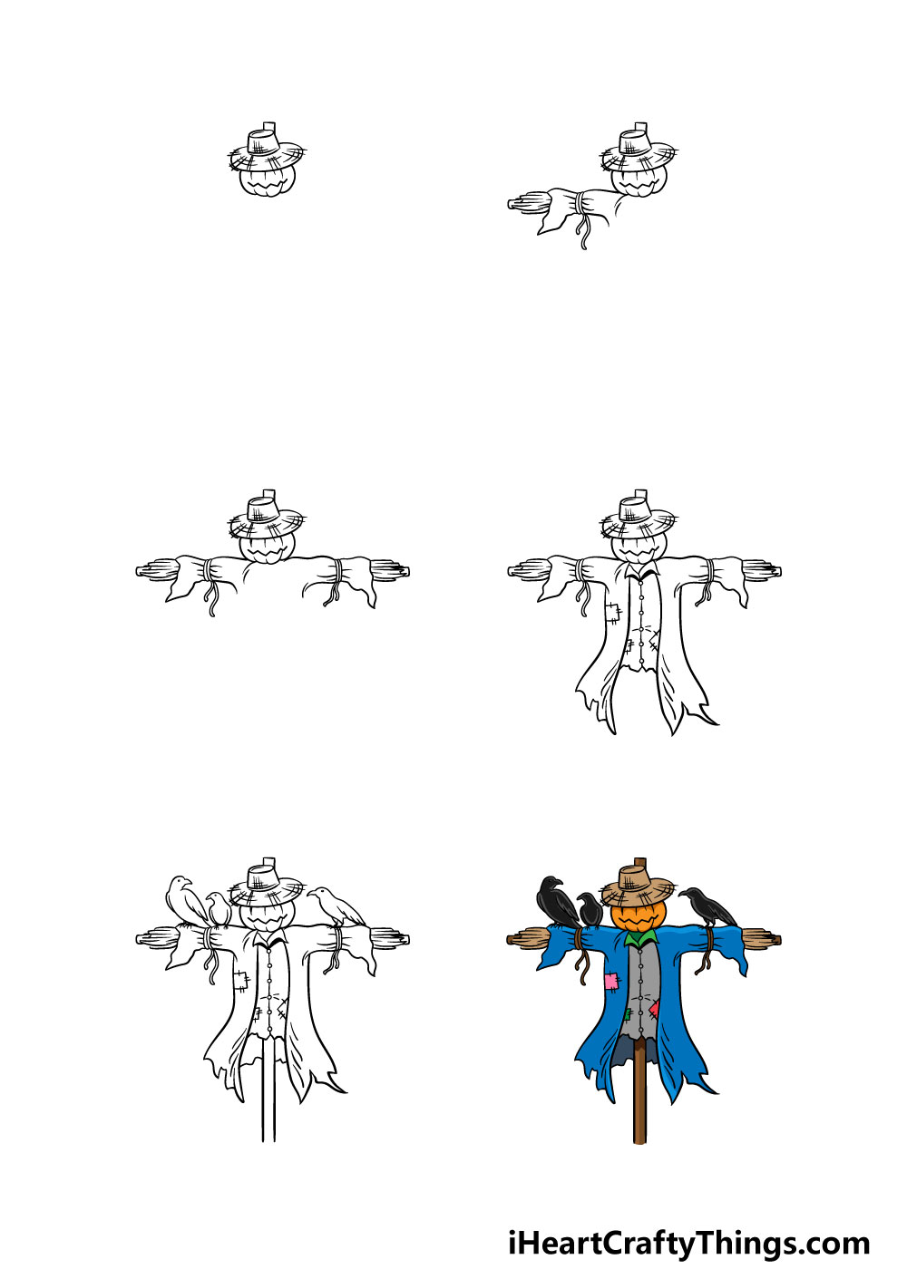 how to draw a scarecrow in 6 steps
