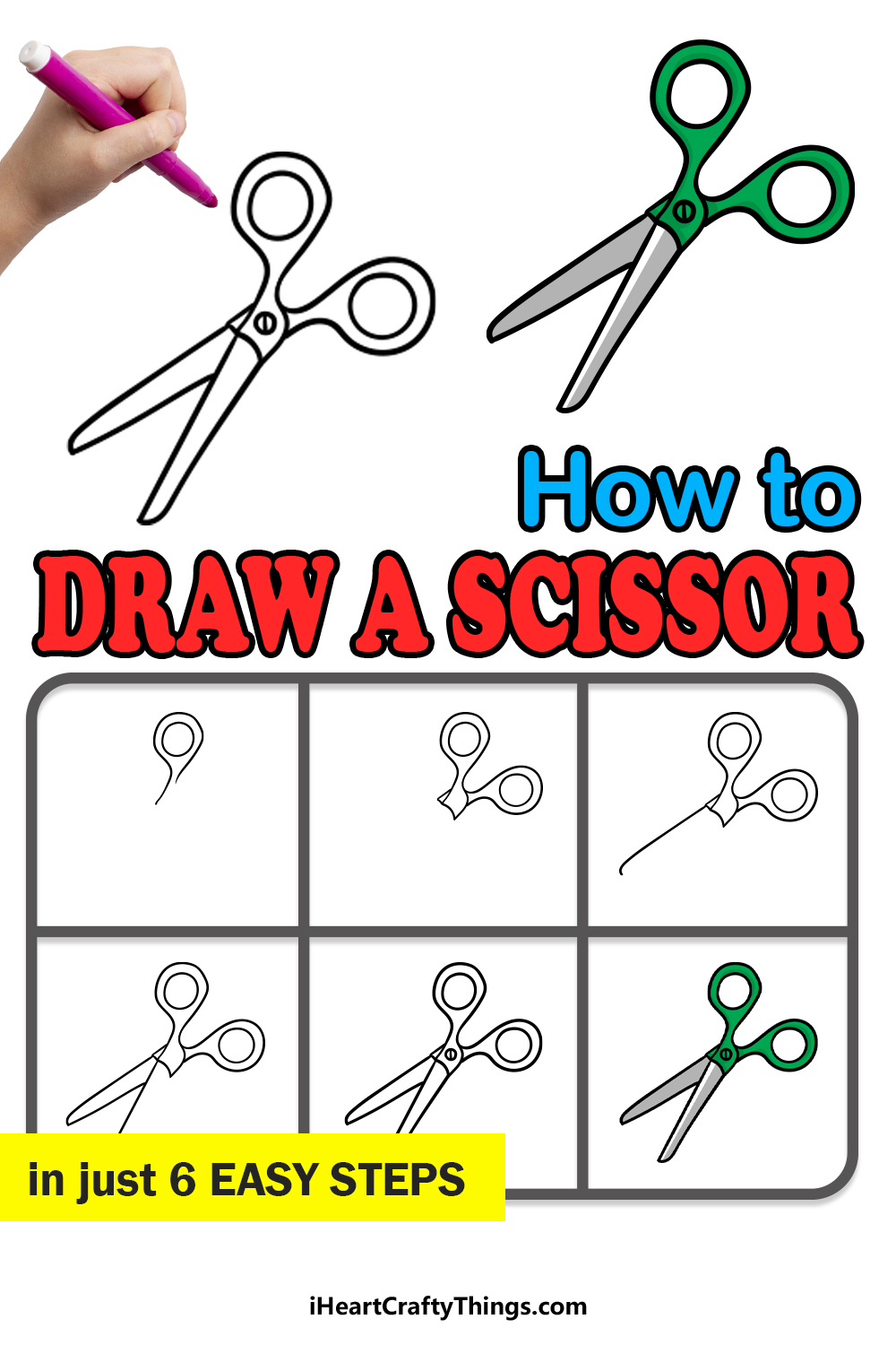 how to draw scissors in 6 easy steps