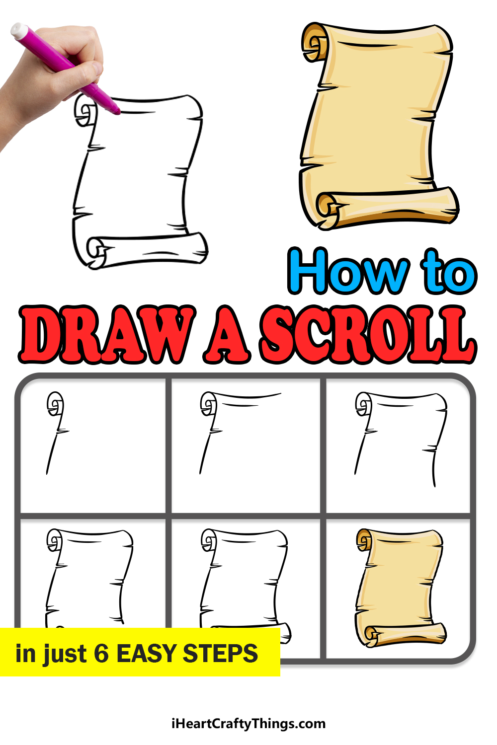 how to draw a scroll in 6 easy steps