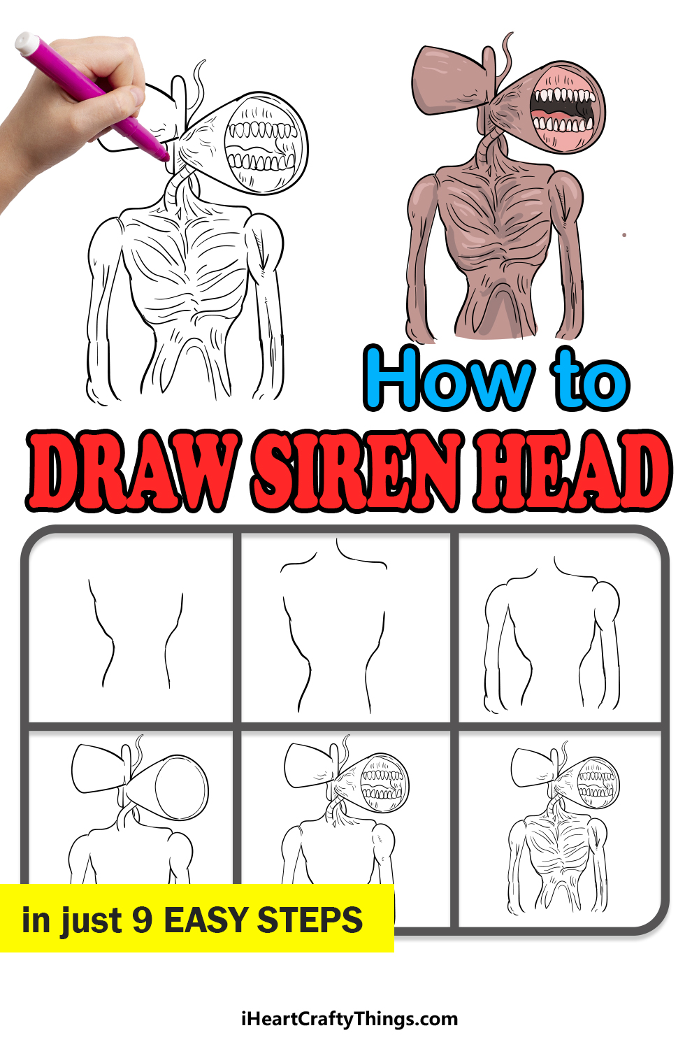how to draw siren head in 9 easy steps