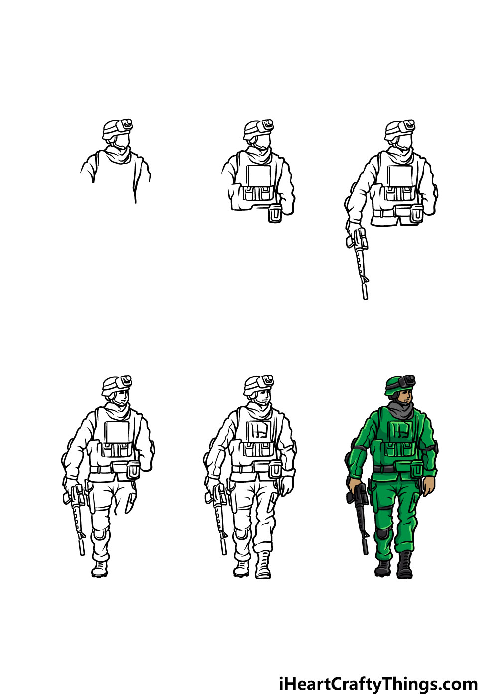 how to draw a soldier in 6 steps
