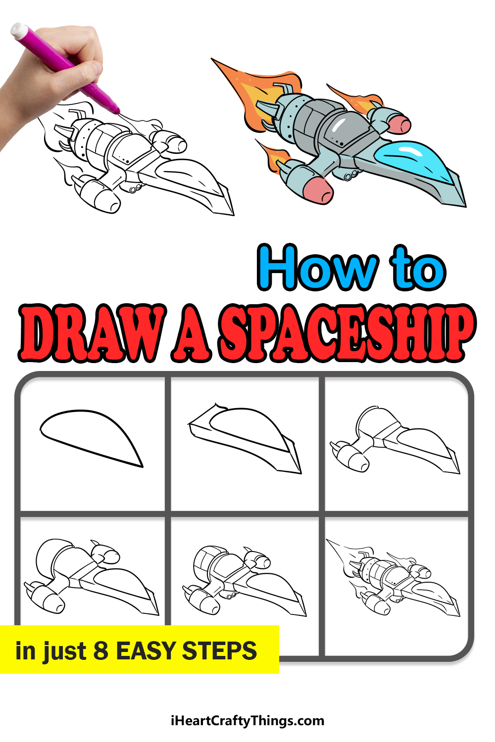 how to draw a spaceship in 8 easy steps