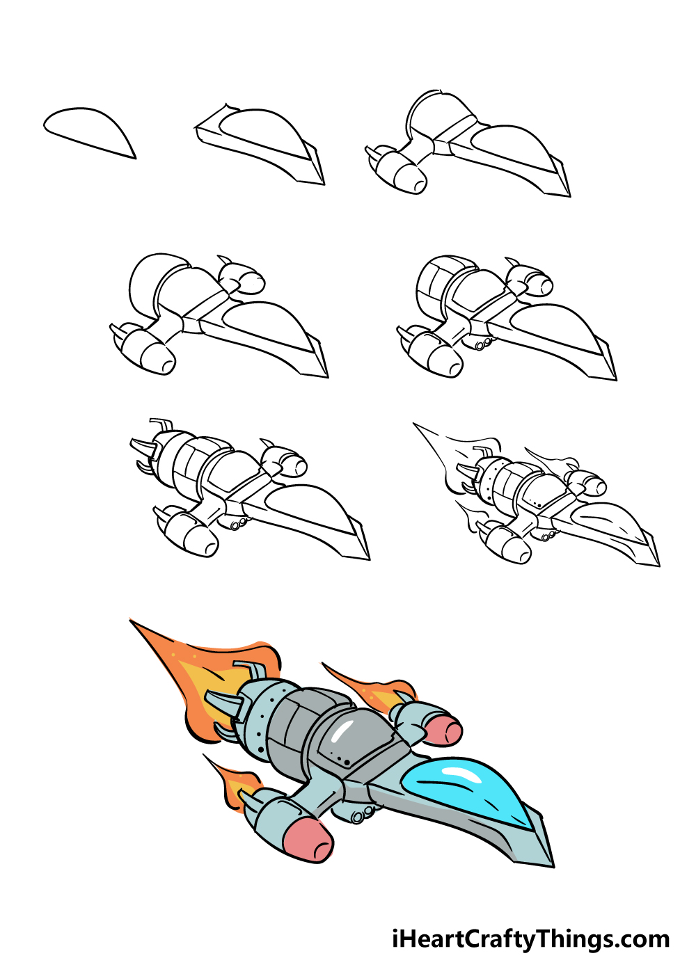 how to draw a spaceship in 8 steps
