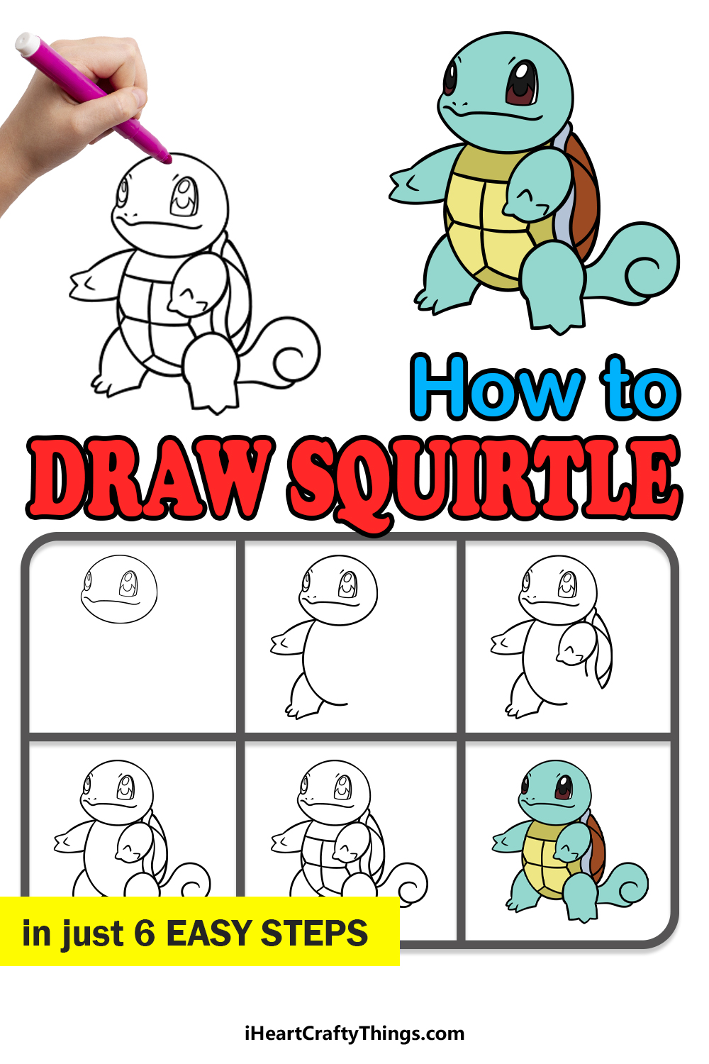 how to draw squirtle in 6 easy steps