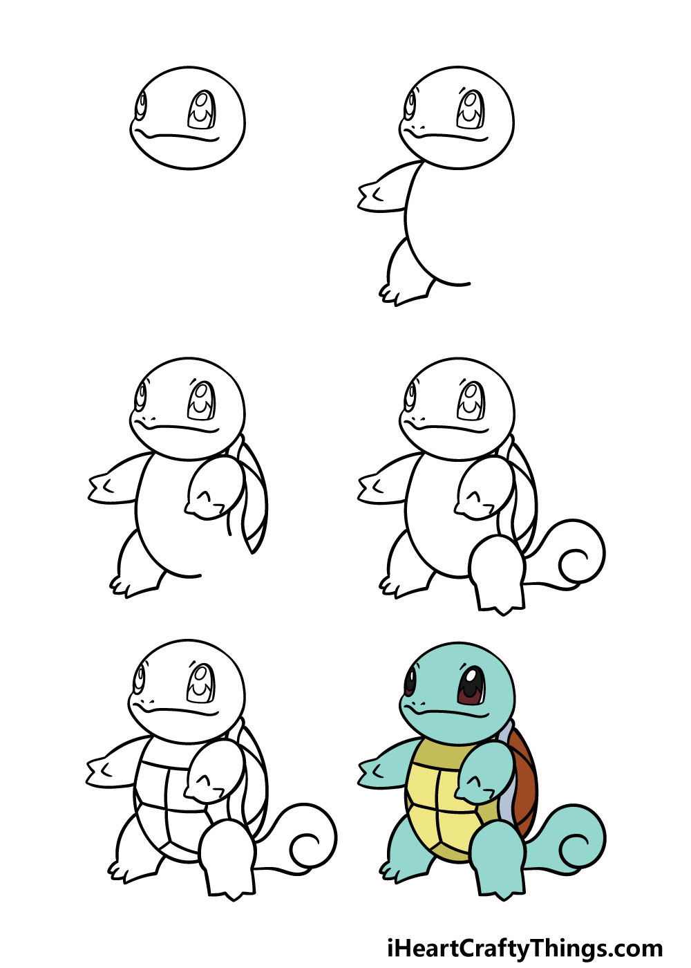 how to draw squirtle in 6 steps