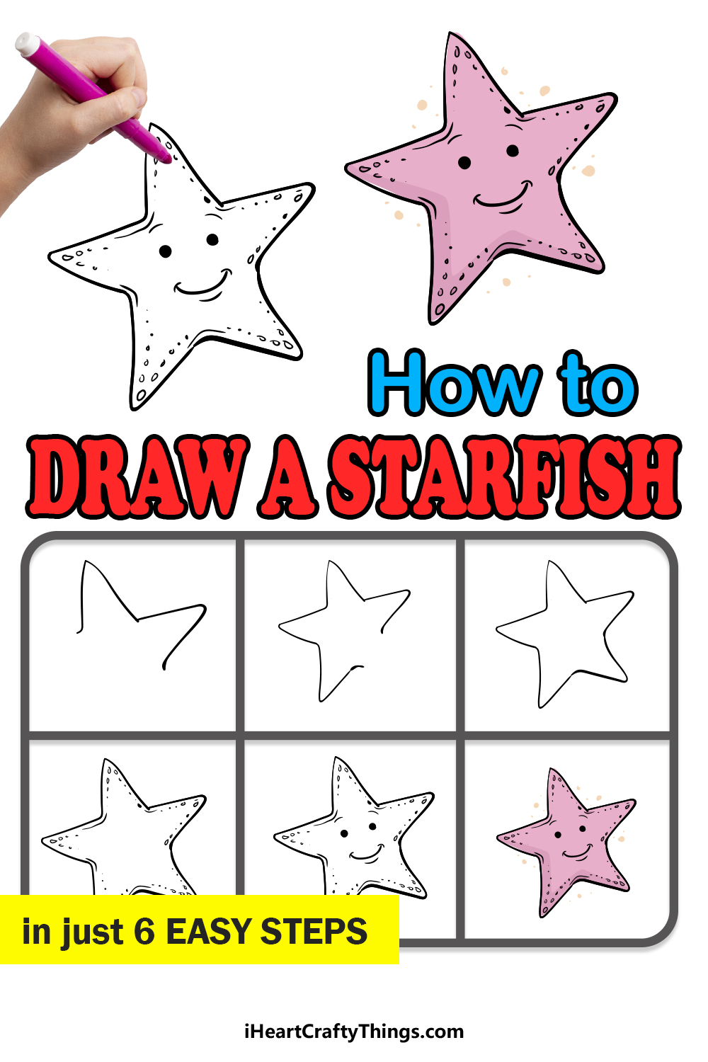 how to draw a starfish in 6 easy steps