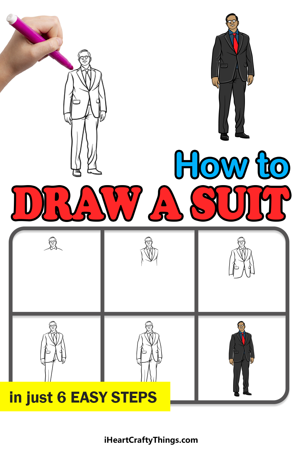 how to draw a suit in 6 easy steps