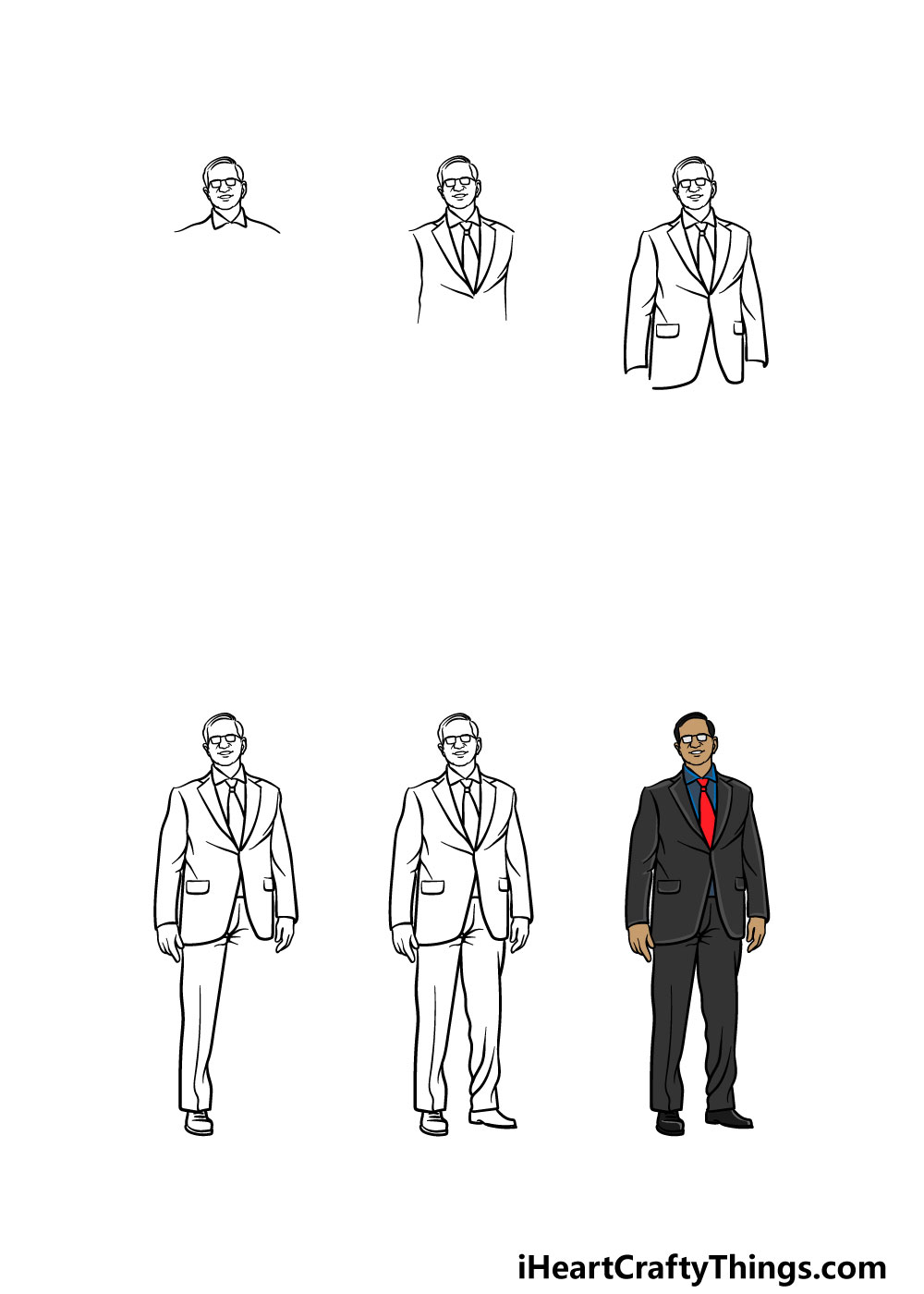 how to draw a suit in 6 steps