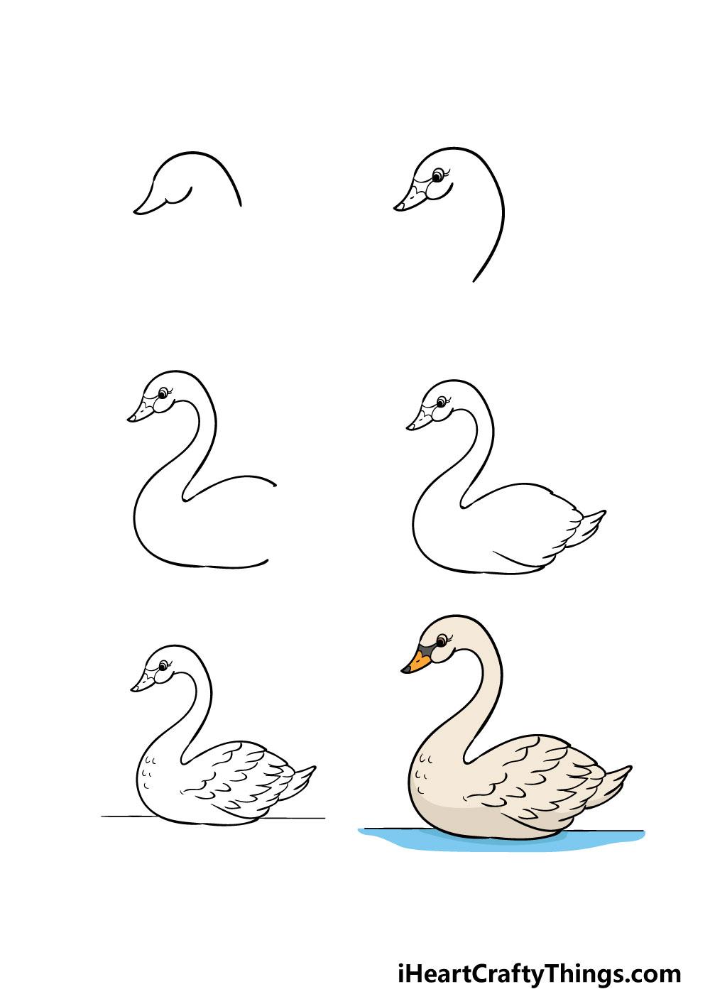 cách vẽ một con thiên nga trong 6 bước