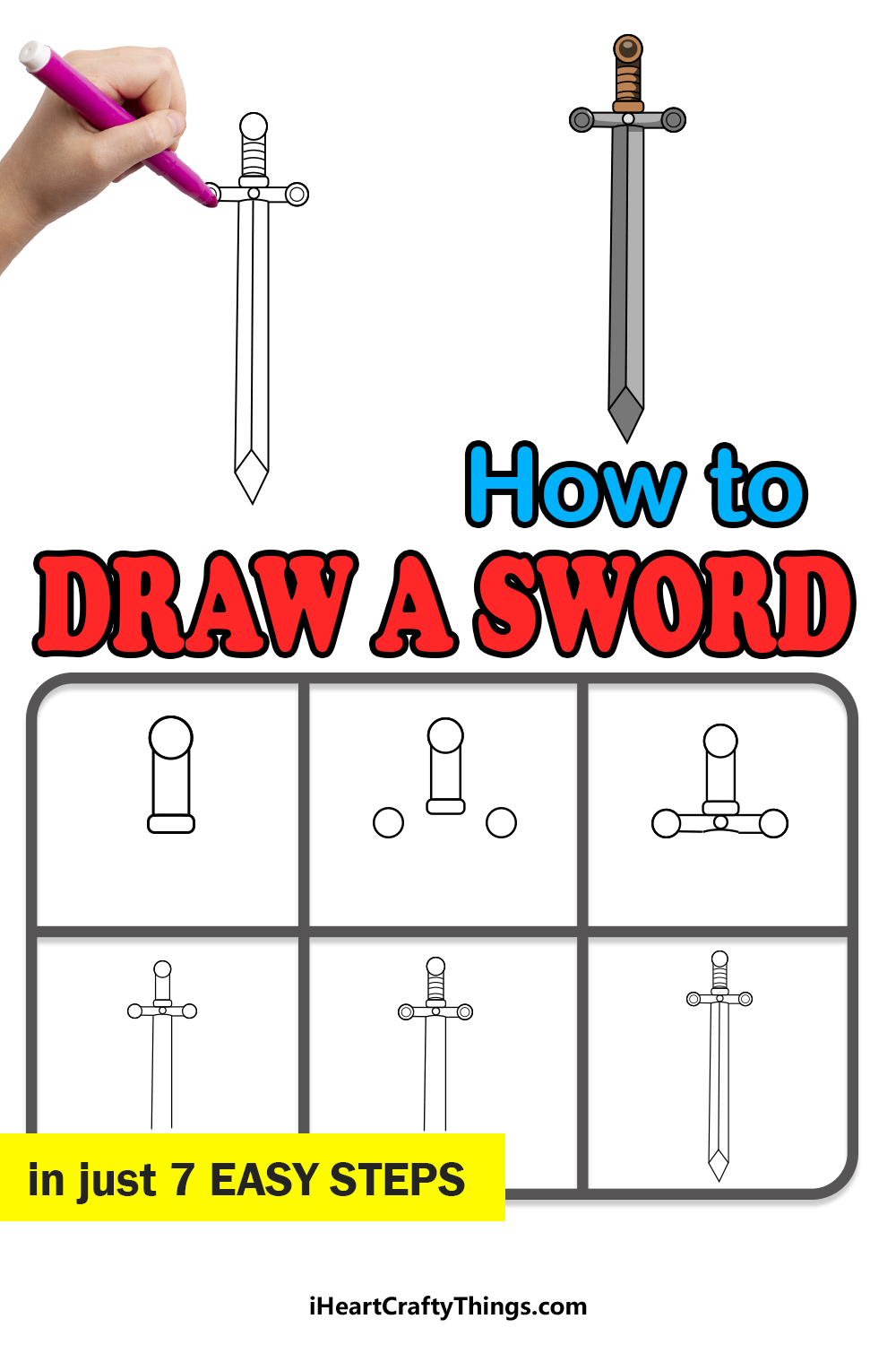 how to draw a sword in 7 easy steps