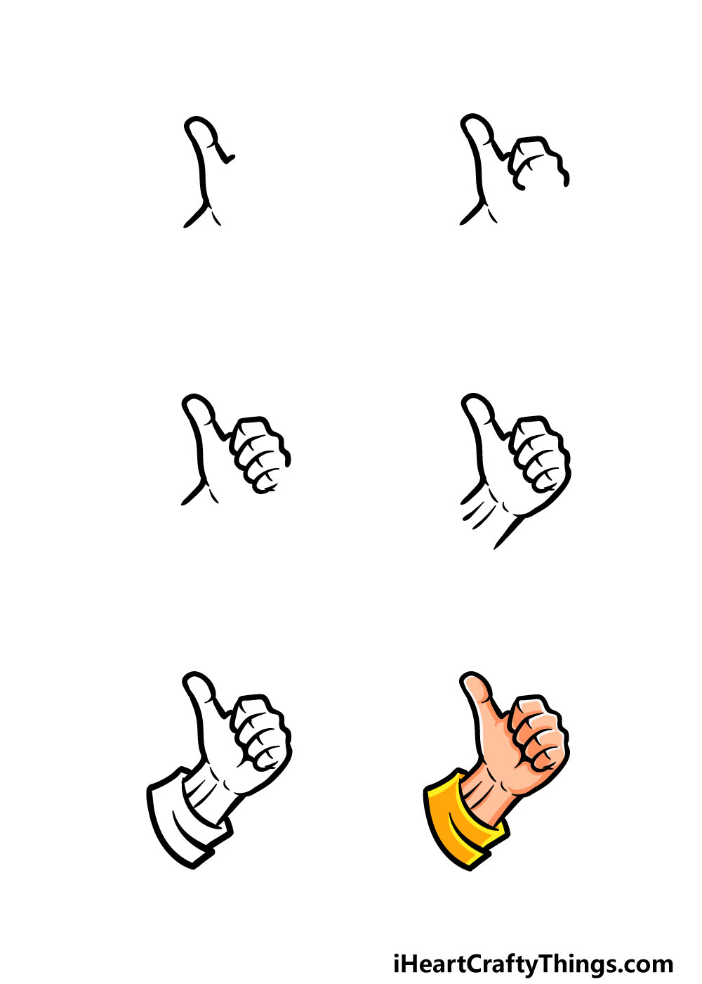 how to draw thumbs up in 6 steps