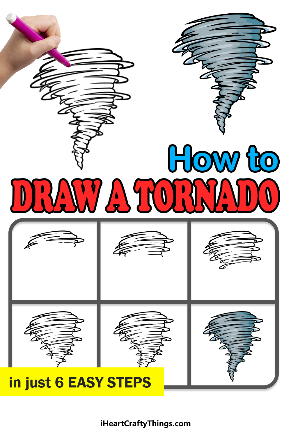 how to draw a tornado in 6 easy steps