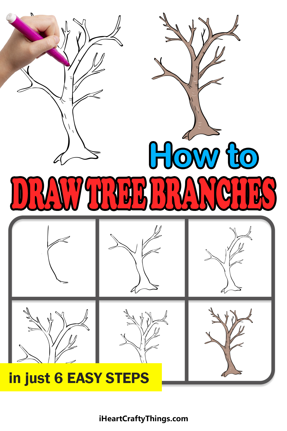 how to draw tree branches in 6 easy steps