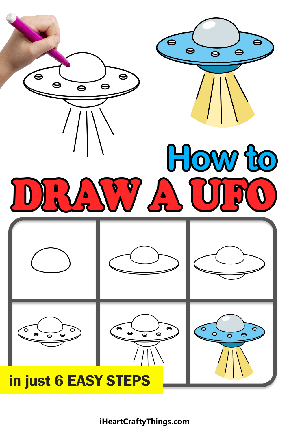 how to draw a UFO in 6 easy steps