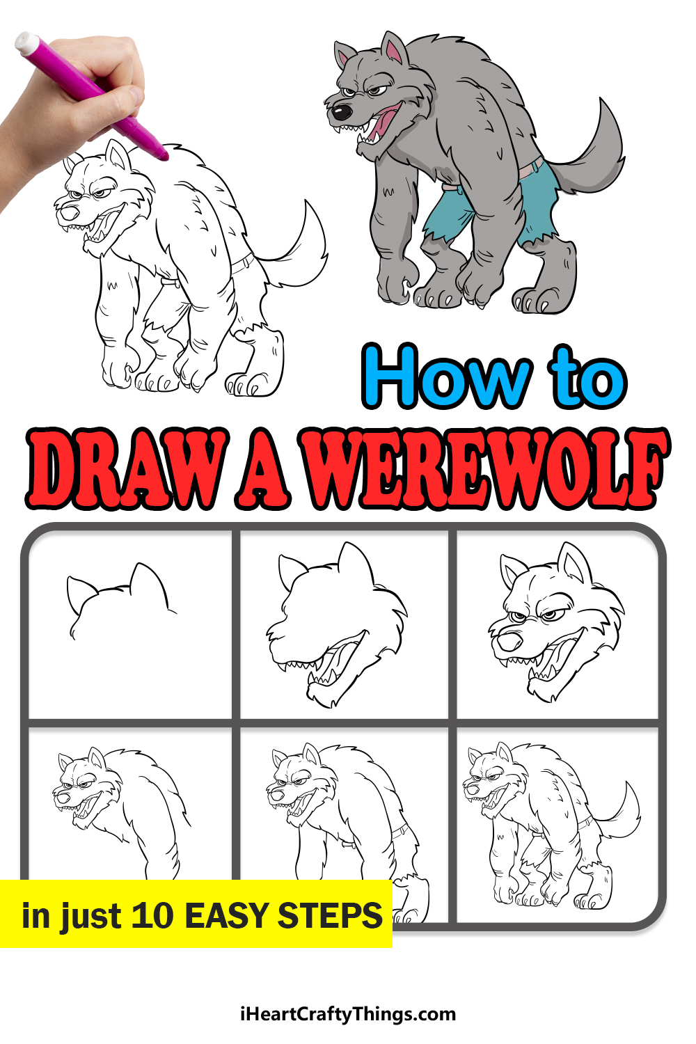 how to draw a werewolf in 10 easy steps