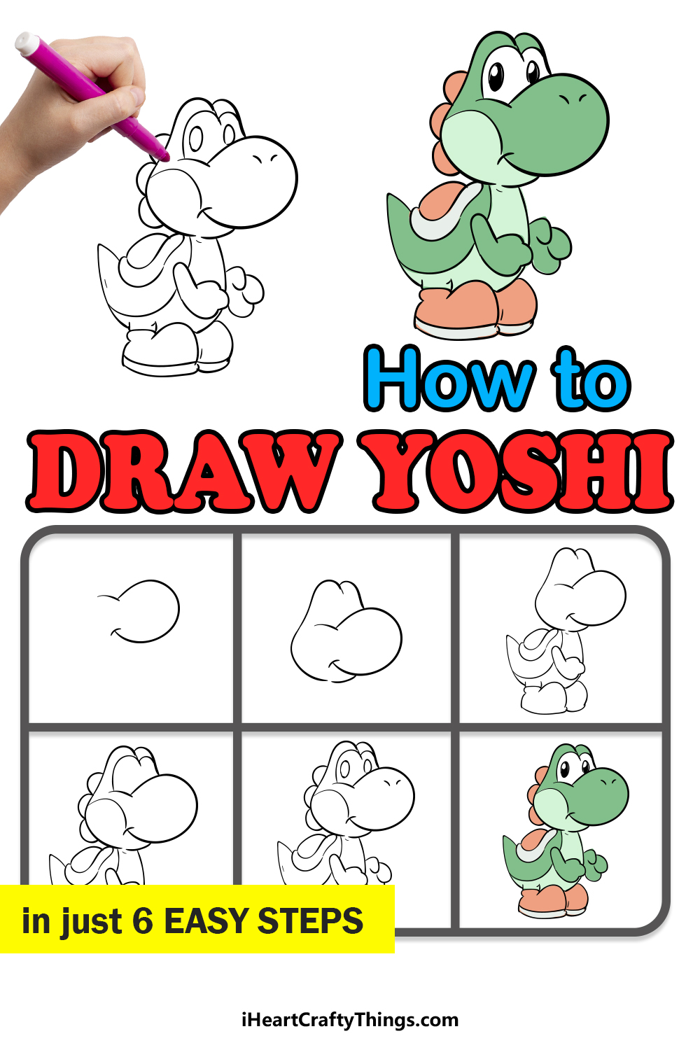 how to draw yoshi in 6 easy steps