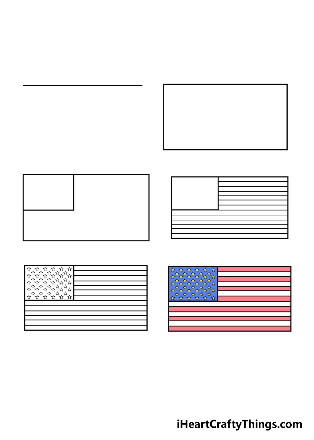 how to draw american flag in 6 steps